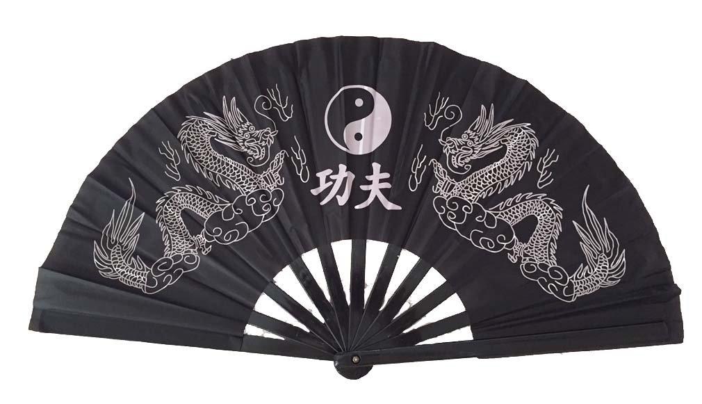 Dragon and Yin Yang Folding Fan, Large #D13039YY