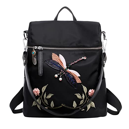 Women Backpack, CieKen 2018 Fashion Elegant New Ladies Girls Nylon  Butterfly Embroidery Practical Satchel Rucksack 750416600e
