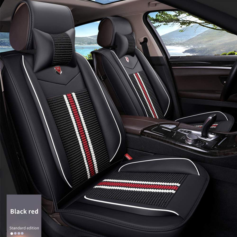 Airbag Compatible for Toyota RAV4 Two Front Car Seat Cover Comfort Leatherette Full Set All Season Protection Easy to Install Black