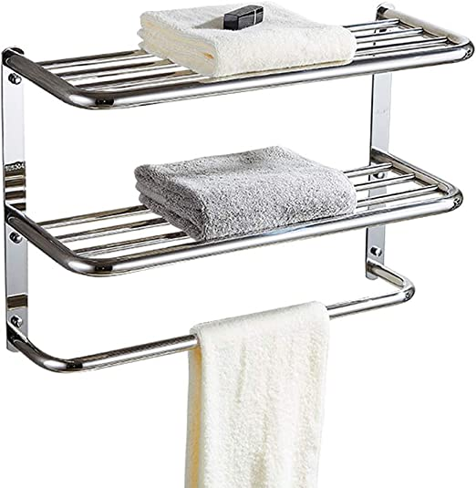 Folconauto Stainless Steel Towel Bar Rail Bathtub Safety Rail Home Care 20-Inch Safety Bathroom Grab Bar Wall Mount with Screws Concealed