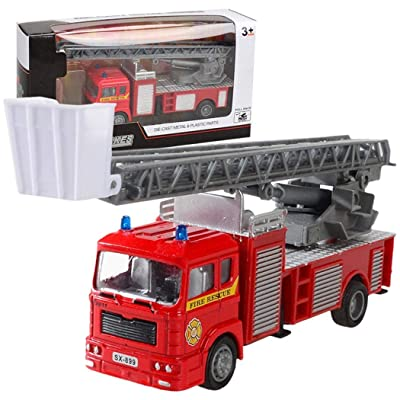 YENJO Mini Pull Back Simulation Construction Fire Engine Truck Model Children Toys Car Push & Pull Toys: Clothing