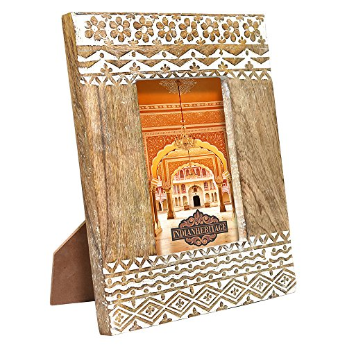 Indian Heritage Wooden Photo Frame 5x7 Carved Mango Wood Design with Natural Wood Color and White Distress Finish
