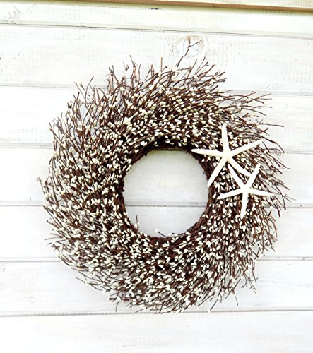 Coastal Wreath, Beach Decor, Beach Wreath, Starfish Wreath, Coastal Wreath, Wreath, White Twig Wreath, Beach Decor, Door Wreath, Housewarming Gift, Coastal Beach Decor,Beach Wedding Decor