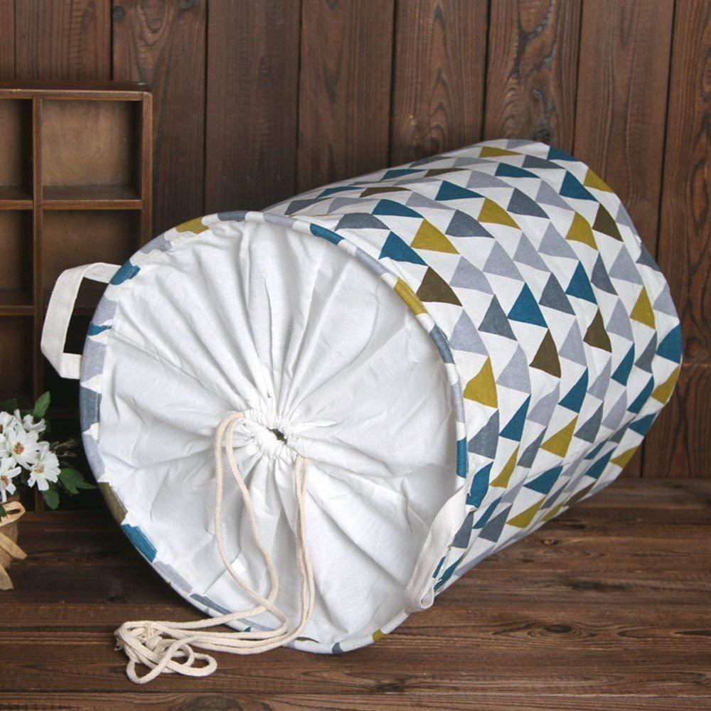 45 cm Depory Cesto portabiancheria Grande Pieghevole con Chiusura con Coulisse Impermeabile Rotondo con Fodera in Cotone Colored Triangle