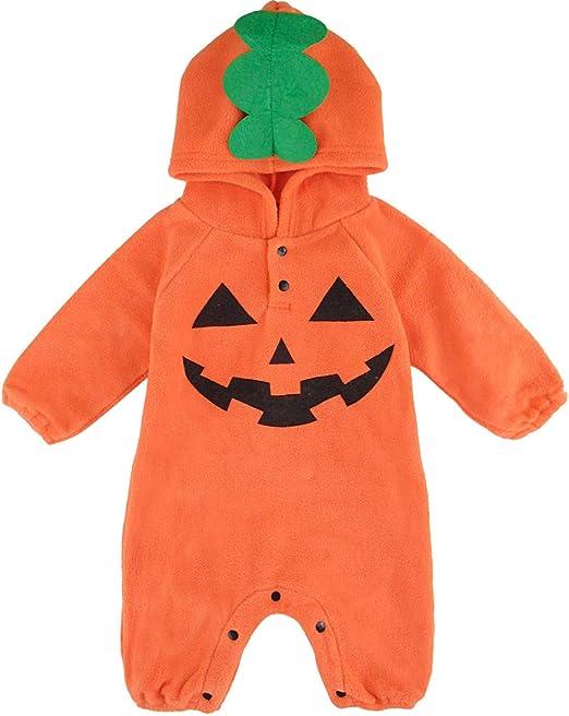 MOMBEBE COSLAND Monos Calabaza Traje Halloween para Bebé-Niños con Capucha Algodón