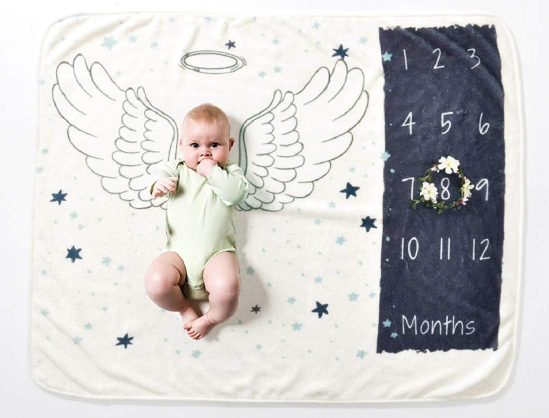 VIVILINEN Beb/é Manta Mensual Hito Franela como Fondo Fotogr/áfico para Beb/é Reci/én Nacido con Diferentes Dibujos Regalos para Mamas Embarazadas Baby y Registros de Crecimiento Mensual