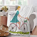 Luoiaax Bicycle Children's Blanket Young Woman on