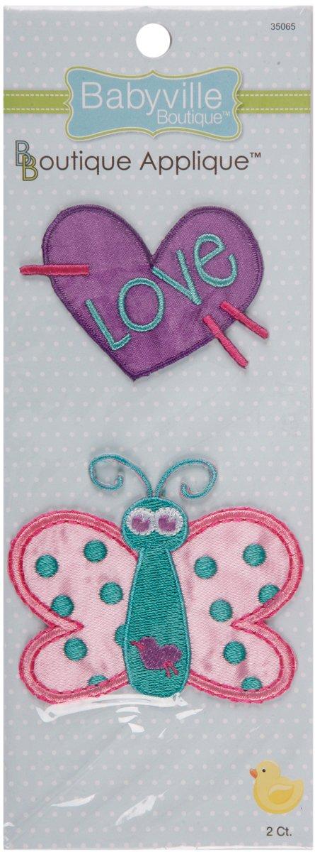 Babyville Boutique 35065 Appliques Butterfly /& Heart 2-Count