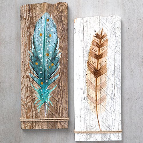 Watercolor Feather Art Set of (Western Wall Decor)