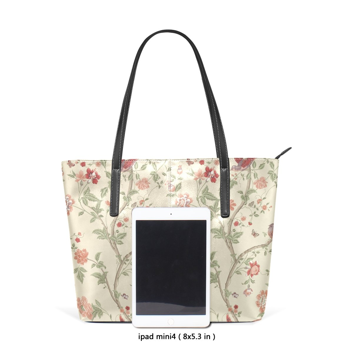 Sunlome Flower Butterfly Pattern Womens Leather Tote Shoulder Bags Handbags