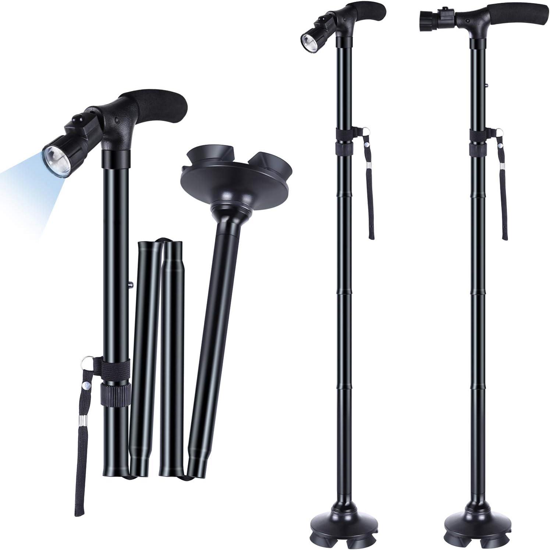 2-Pack LED Folding Walking Cane, Ohuhu Folding Walking Cane with LED Light, Adjustable Walking Stick with Carrying Bag for Fathers Mothers Gifts