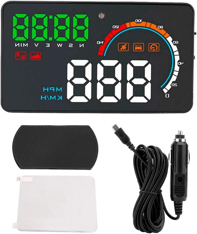 Cuque Car HUD Large Screen Head Up Display 4.8 Inch Digital LED Windshield Screen Projector Reflective Screen Universal with Driving Direction Time Distance Over Speed Fatigue Driving Reminding Alarm