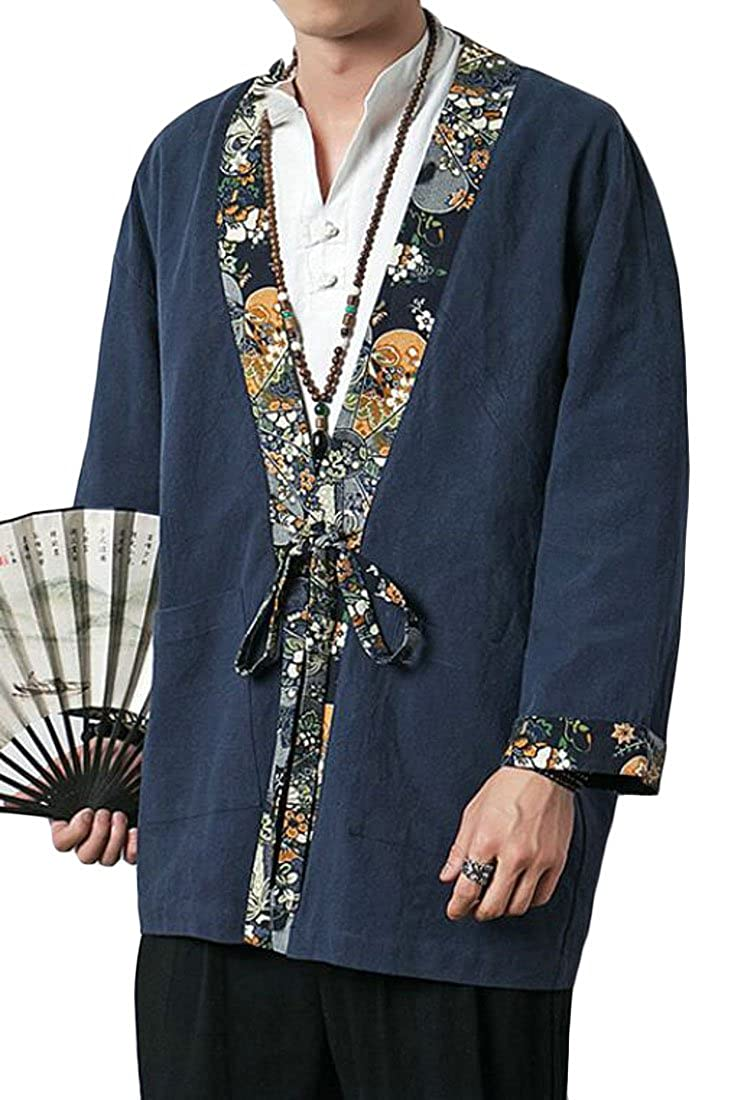 KLJR Men Loose Cotton Linen Chinese Style Print Kimono Cardigan