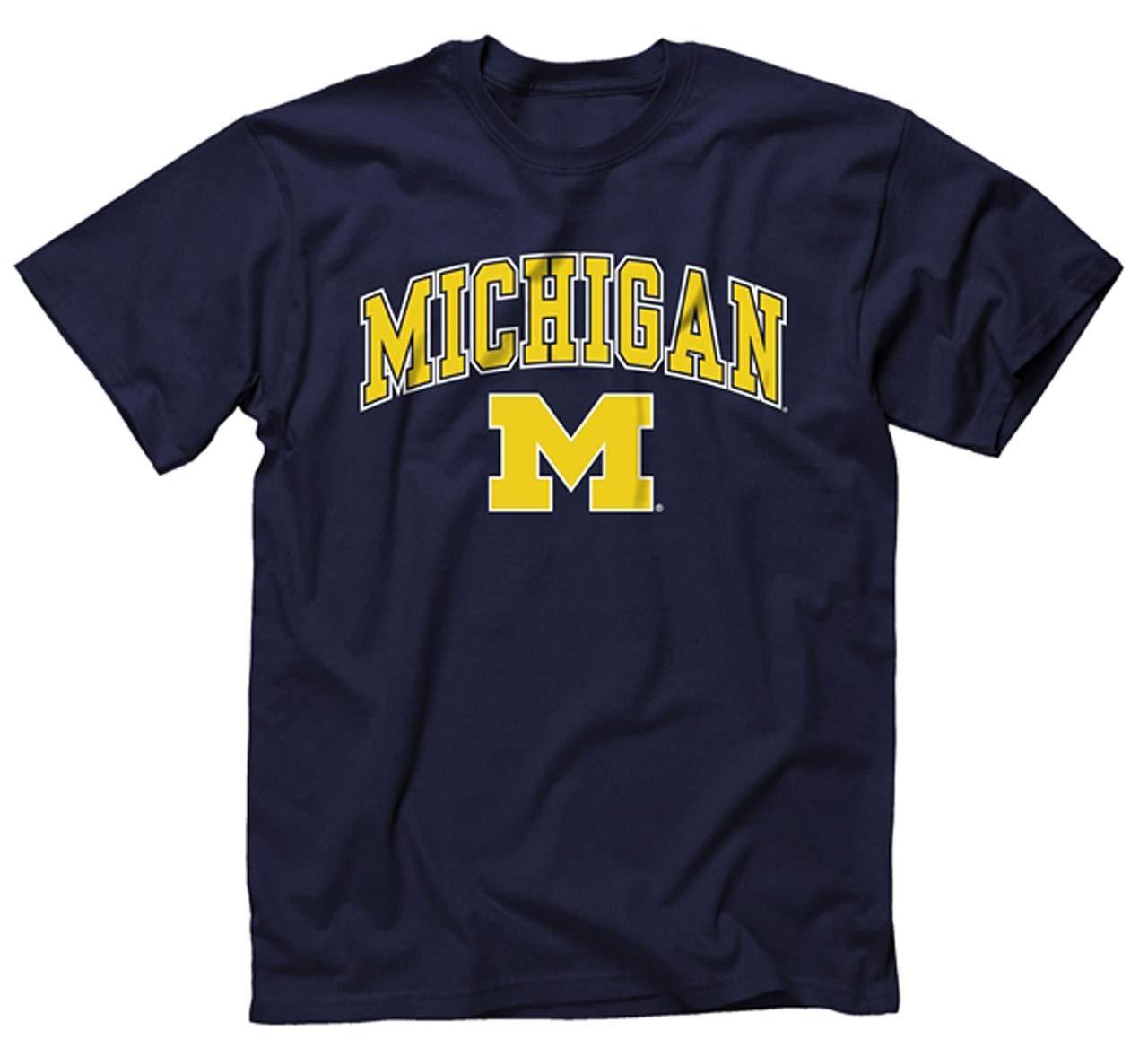 Michigan Wolverines Erwachsene Arch /& Logo Soft Style Gameday Shirt Marineblau,