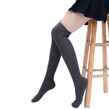 butterme Mujer de calcetines algodón Invierno Medias niña punto Alto través 09.1808 überknie kniestrümpfe escolar Calcetines Deportivos gris gris oscuro: ...