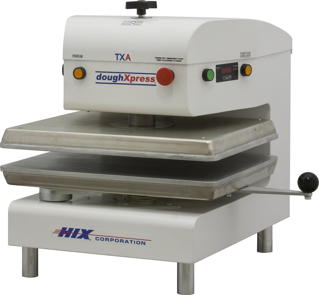 DoughXpress TXA-WH White Powder-Coated Air Automatic Dual-Heated Press, 220V, 18-3/16'' Width x 25-1/8'' Height x 24-11/16'' Depth