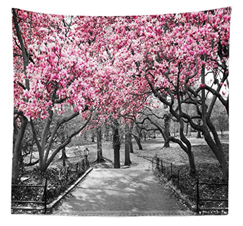 Lunarable NYC Tapestry Queen Size, Blossoms in Central Park Landscape with Cherry Trees Forest in Spring Season Picture, Wall Hanging Bedspread Bed Cover Wall Decor, 88