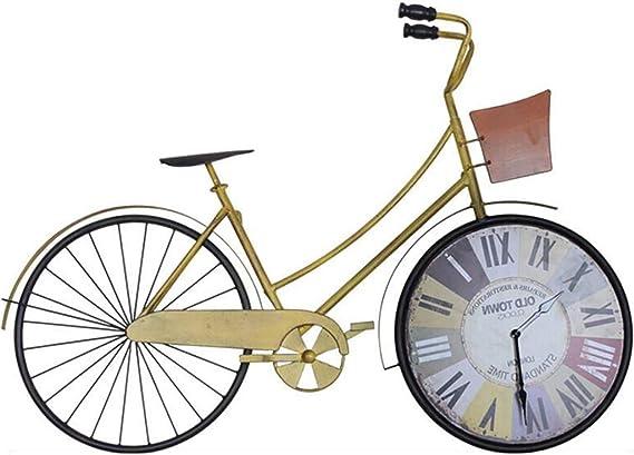 Bicicleta Amarilla Reloj De Pared, Sala De Estar En Casa Dormitorio Silencioso Reloj De Pared, Pared Colgando DecoracióN De Pared Reloj: Amazon.es: Hogar