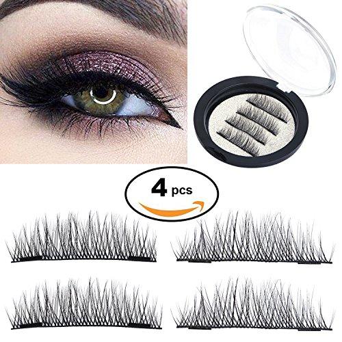 HotSan Dual Long 35mm Magnetic False Eyelashes Reusable Eye Lashes Ultra Thin Magnetic Lashes No Glue Needed 4 Pieces