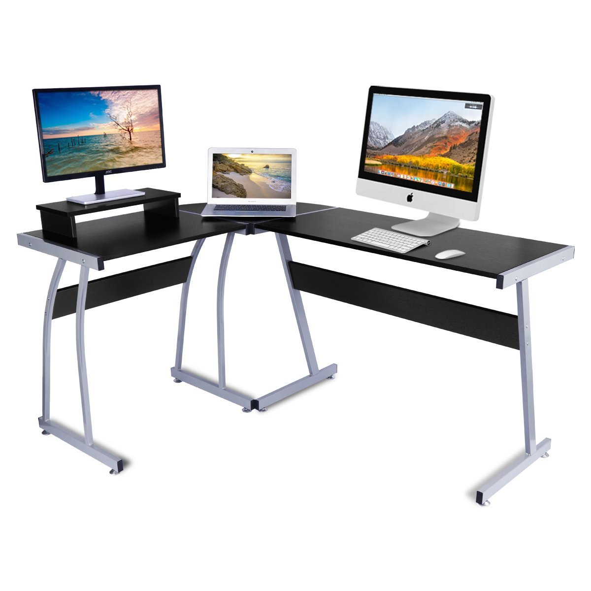 LASUAVY Computer Desk, L-Shaped Large Corner PC Laptop Study Table Workstation Gaming Desk Home Office - Free Monitor Stand - Wood & Metal - Black Wood Grain