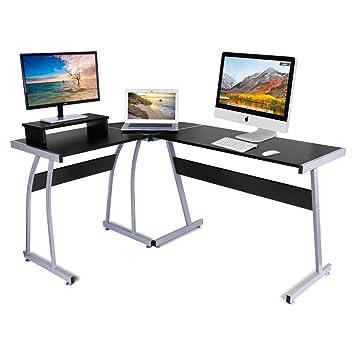 Escritorio de la computadora, DOSLEEPS L-Shaped Large Corner PC Mesa de estudio portátil