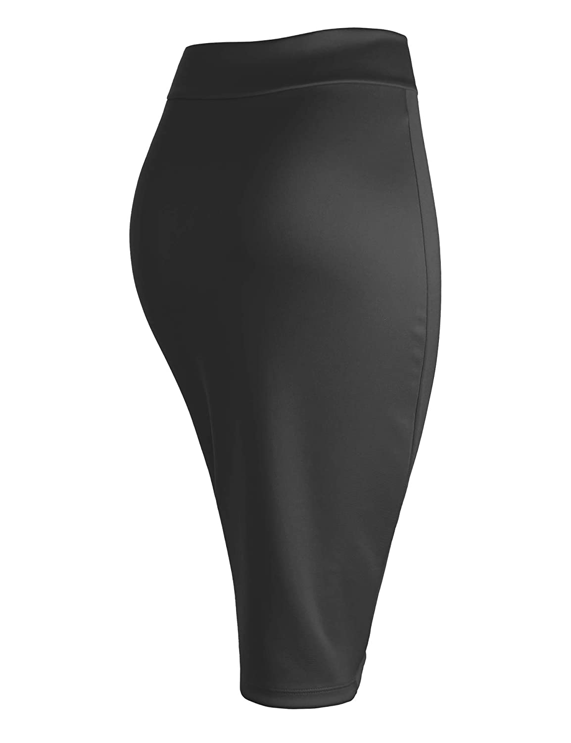 Made in USA Made By Johnny Womens Elastic Waist Stretch Bodycon Midi Knee Length Pencil Skirt for Office