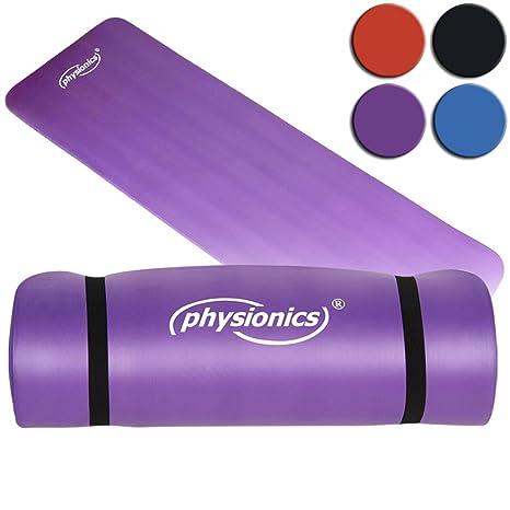 Physionics Estera de Yoga - Muy Ligera, para el Entrenamiento en Casa o en el Gimnasio, 180 x 60 x 1 cm, Violeta - Esterilla de Fitness, Pilates Mat, ...
