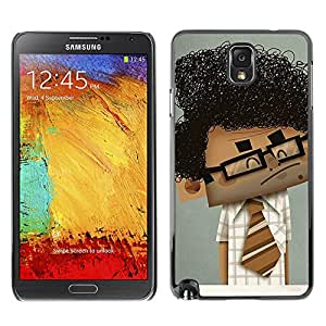 A-type Colorful Printed Hard Protective Back Case Cover Shell Skin for SAMSUNG Galaxy Note 3 III / N9000 / N9005 ( Geek Scientist Boy Man Curly Black Hair Art )