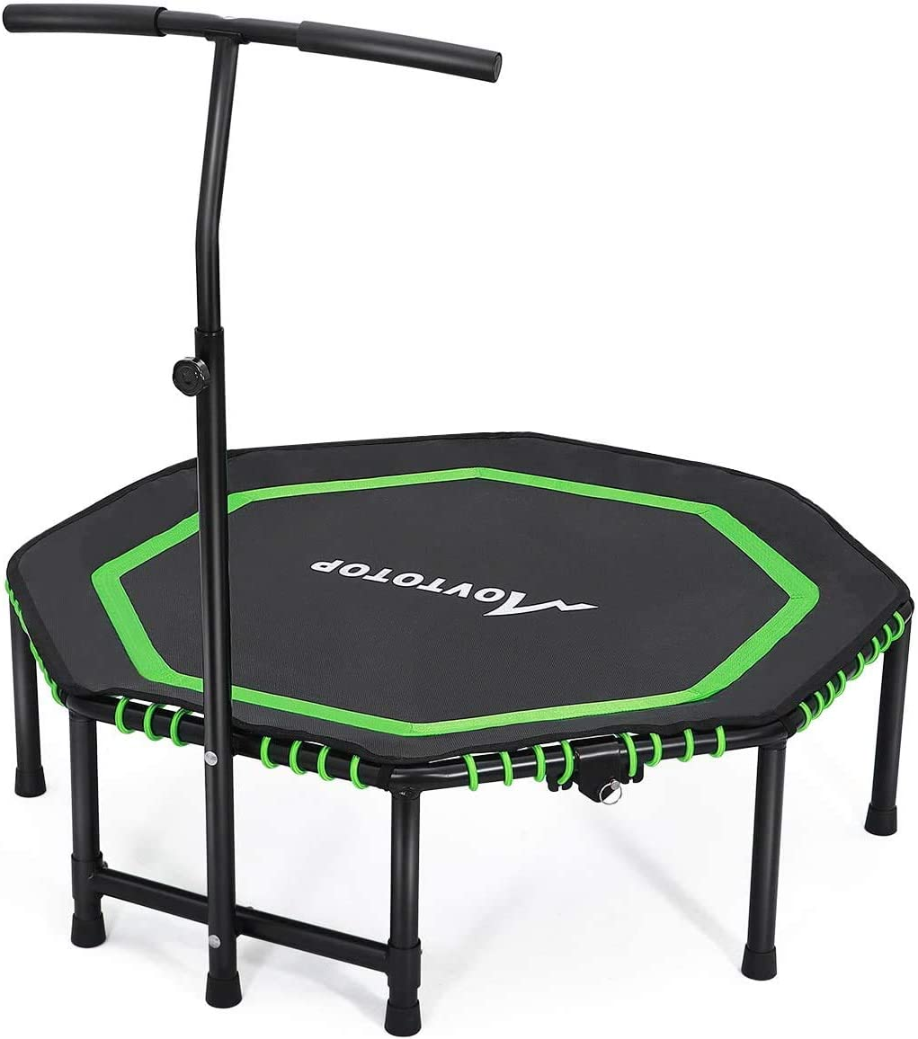 MOVTOTOP Indoor Fitness Trampoline Folding 48 Inch with Adjustable Handrail and Safety Pad, Exercise Trampoline Rebounder for Indoor/Garden Workout (Black)