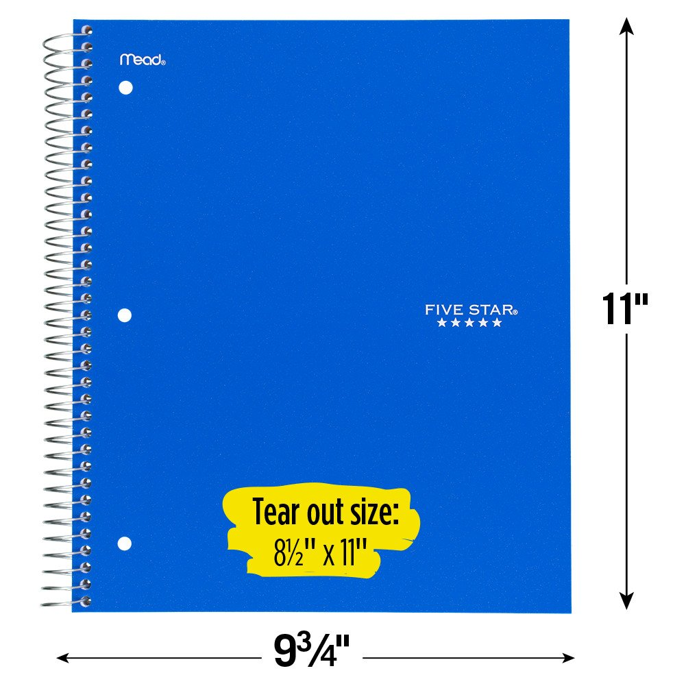 Five Star Spiral Notebooks, 1 Subject, Graph Ruled Paper, 100 Sheets, 11'' x 8-1/2'', Assorted Colors, 6 Pack (73549) by Five Star (Image #6)