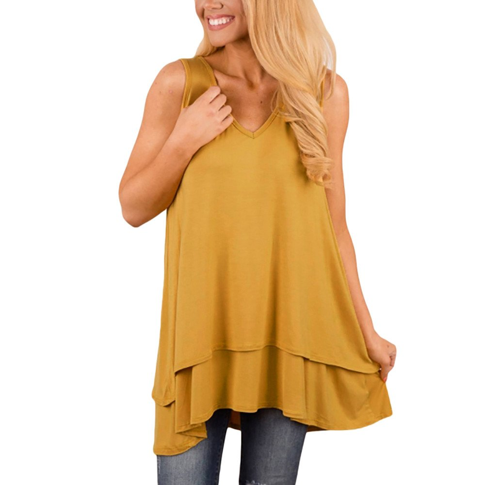 Tank Tops for Women, Kaitobe Womens V-Neck Ruffle Layer Asymmetric Hem Tunic Sleeveless Cami Vest Blouse Tops Yellow by Kaitobe Vest (Image #1)