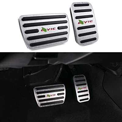 Thenice for 10th Gen Civic Anti-Slip Foot Pedals Aluminum Brake and Accelerator Pedal No Drilling Covers for Honda Civic 2020 2020 2020 2020 -Silver (red logo): Automotive
