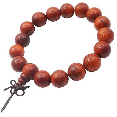 Amazon.com: 12mm Sandalwood Beads Bracelet Wrist Yoga ...