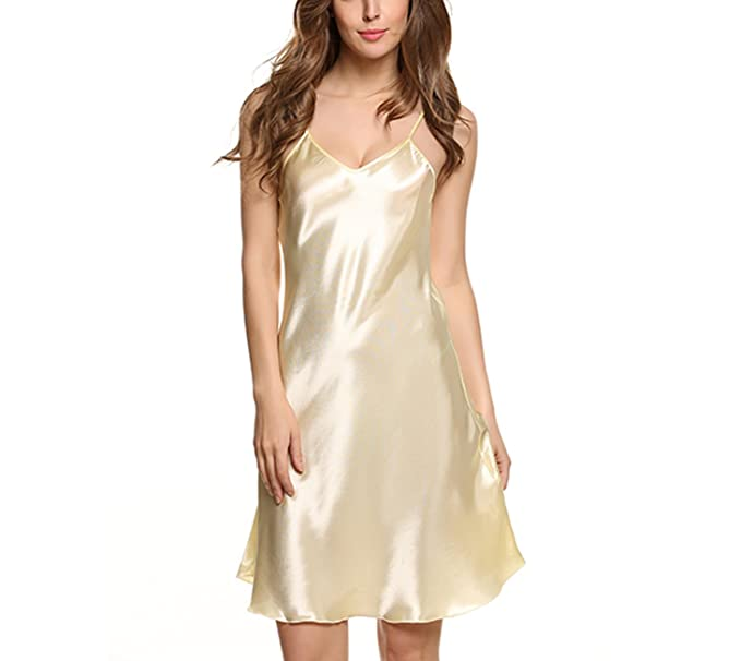 2b5c75b777 Image Unavailable. Image not available for. Color  Women Silk Sleepwear  Sexy Night Dress V Neck Strap Solid Nightwear ...