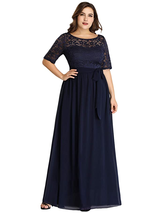 Ever-Pretty A-línea Encaje Talla Grande Vestido de Fiesta Cuello Redondo Largo para Mujer EZ07624