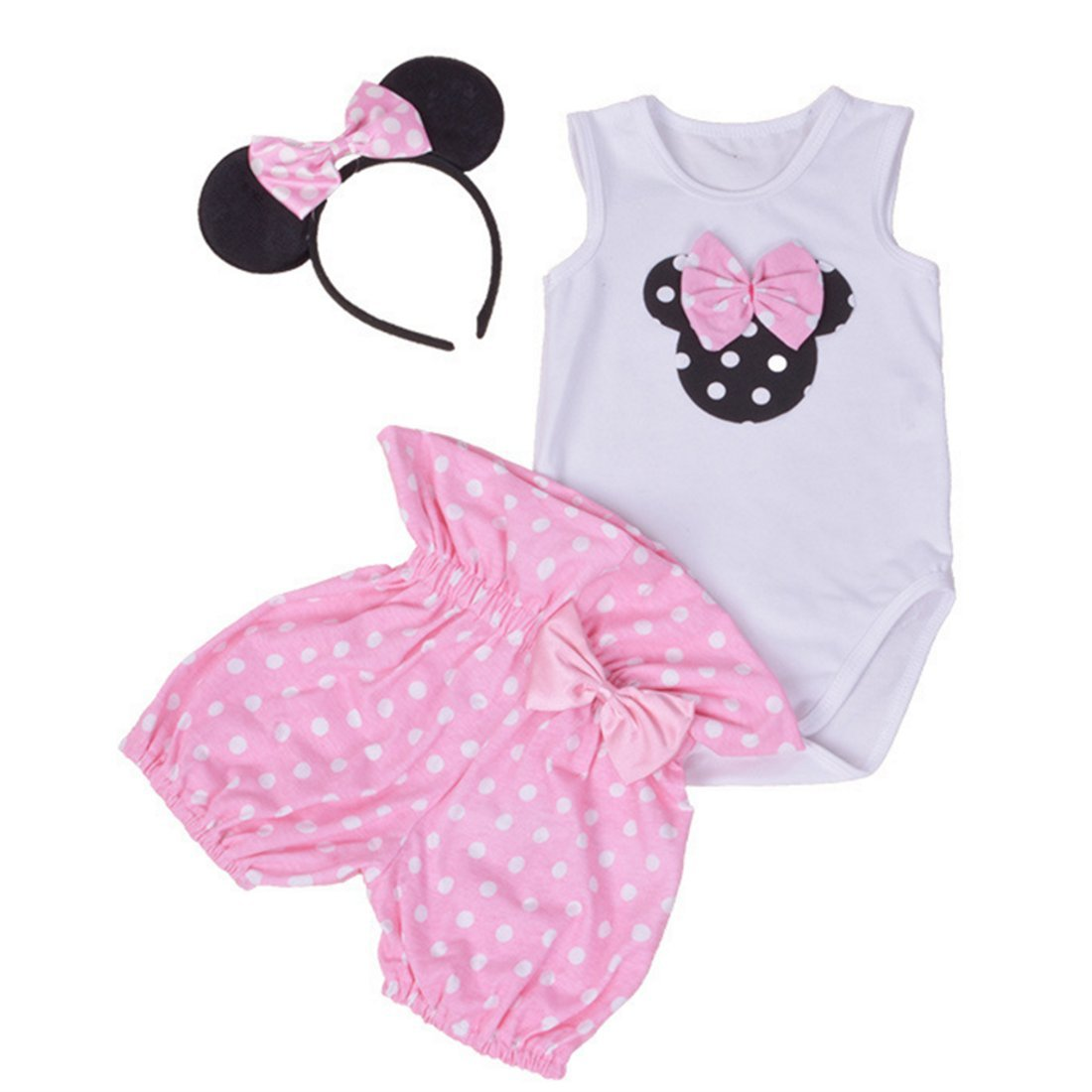 Amberetech Infant Baby Girl Mini Mouse Shorts Suits Romper Outfit 3Pcs Clothing Set (Pink, S(0-3 Months))