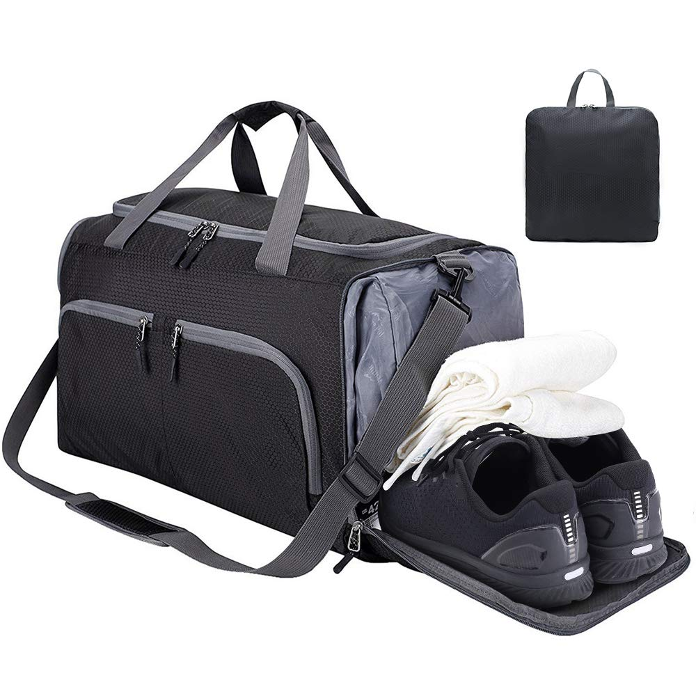 CS Force Sports Gym Bag, Travel Duffel Bag Tote Swim Bag with Wet Pocket and Shoes Compartment for Women and Men