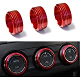 iJDMTOY 3pcs Red Anodized Aluminum AC Climate Control Knob Ring Covers For Subaru WRX, STI, Impreza, Forester, XV Crosstrek