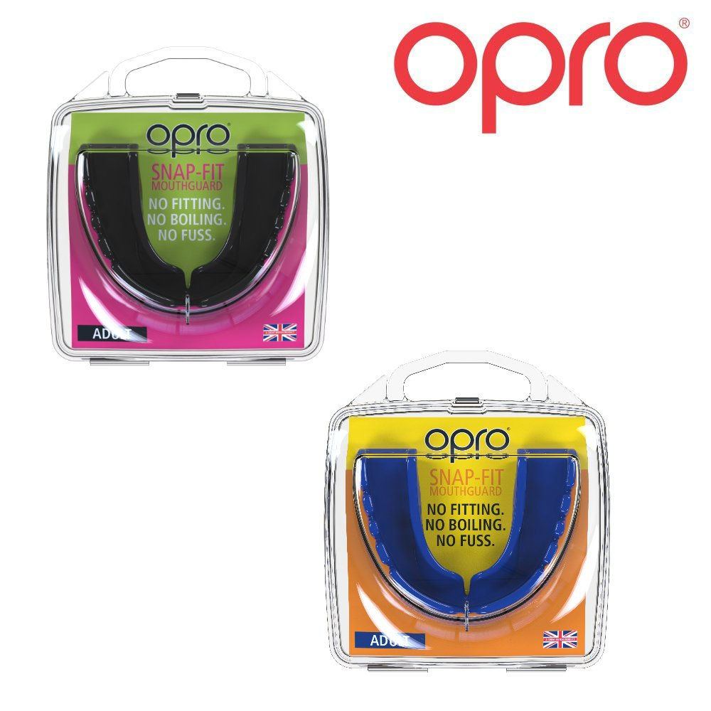 OPRO Twin Pack Junior Snap Fit Protector bucal para Rugby, Hockey, Artes Marciales, Boxeo (Azul + Blanco Colores) 002143012