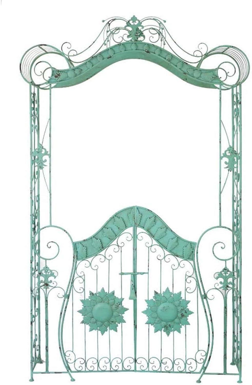 Arco de jardín retro de hierro forjado con puerta de entrada ...