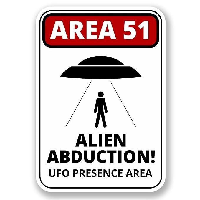 2 x área 51 Alien Abduction vinilo adhesivo de vinilo para portátil de viaje equipaje coche iPad Sign Fun # 6423