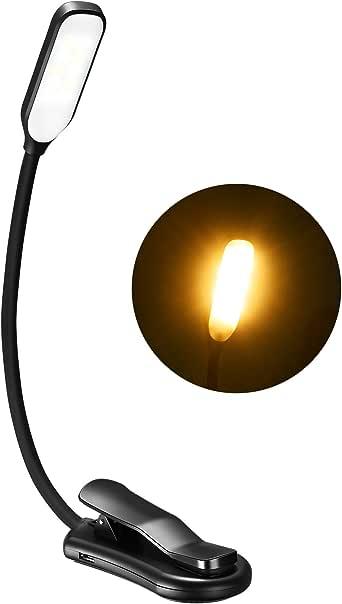 LITOM Luz Lectura Libros 10 LED con 3 Modos de Brillo (Luz Cálida y Fría), Lampara Libro Recargable con 15H de Duración, 360º Flexible Lampara Lectura Libro con Pinza Fuerte