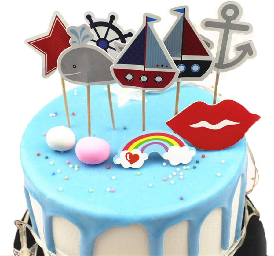 Ocean Sailing Yacht Boat Nautical Cupcake Toppers 24PCS - Anchor Boat Rudder Whale Sailboat Decor Cake Topper Picks Ocean Sailing Cupcake Decorations for Kids Boys Girls Baby Friends Birthday Anniversary Themed Party Supplies