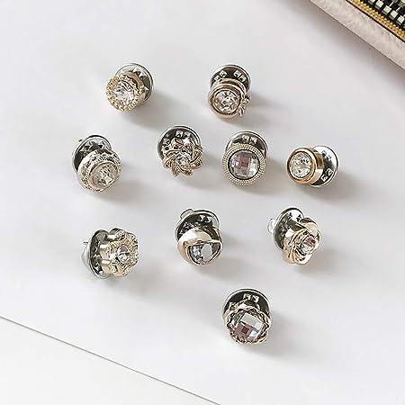 Los botones de la mochila, los botones de la camisa de metal de cristal Broche evitan la exposición accidental de botones para bricolaje, ropa, bufanda, blusa, suéteres, cuello, manga y jeans.: Amazon.es: