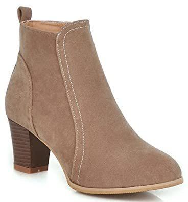 Women's Fashion Faux Suede Mid Block Heels Short Ankle Boots With Side Zipper