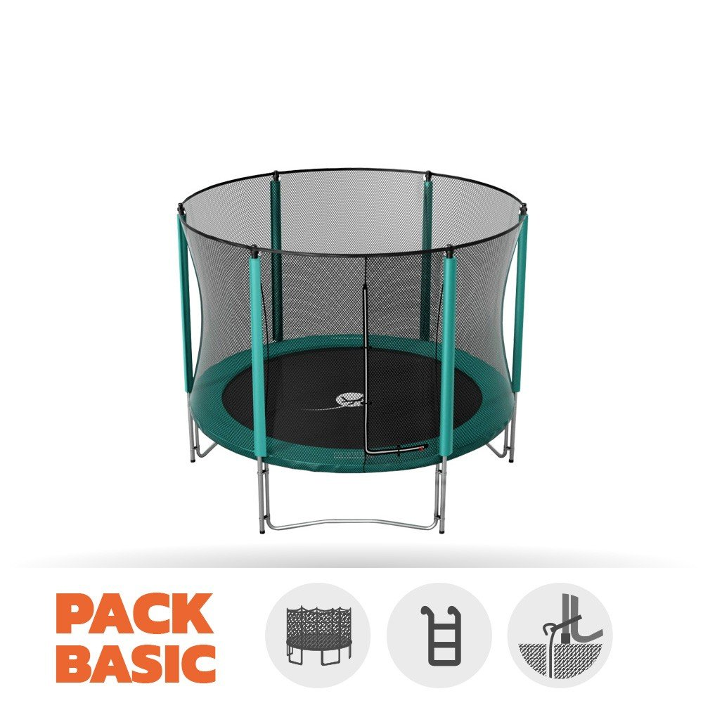 Pack Trampolin Basic jump' Up 250 mit Netz + Leiter + Kit Ankerstange