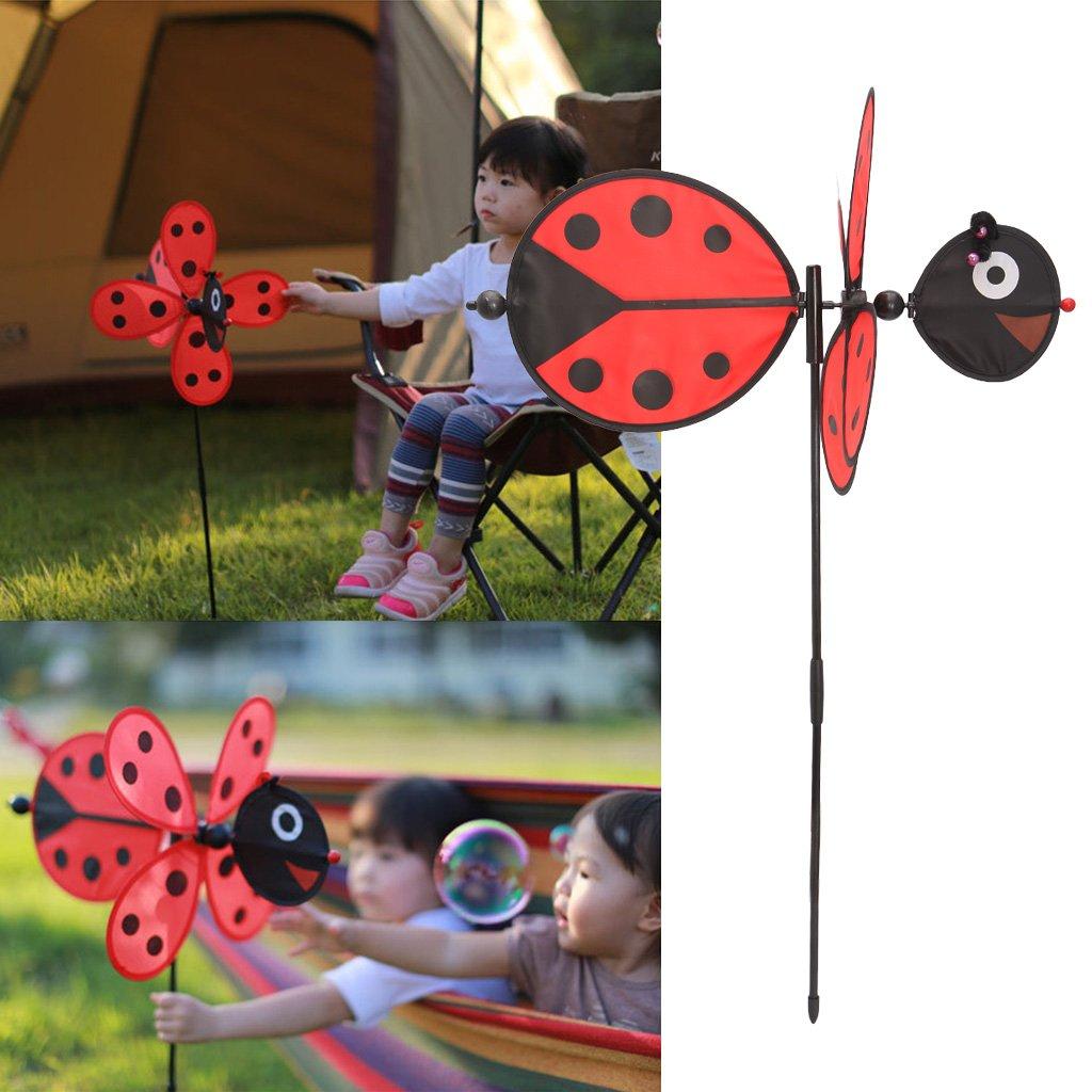 Hergon 1/pcs Coccinelle Moulin /à vent Toys DIY Pinwheel ext/érieur jouet pour jardin pelouse f/ête D/écor enfants Cadeau