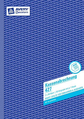 Avery Zweckform 427 Kassenabrechnung (A4, mit MwSt.-Spalte, 2x50 Blatt) weiß/gelb