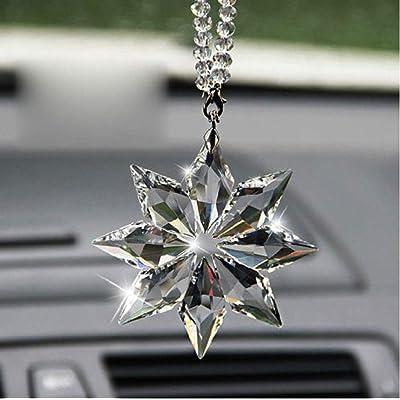 SZWGMY Car Mirror Pendant,Crystal Car Rear View Mirror Pendant Hanging Decorations Ornament, Crystal Snowflake Car Rear View Mirror Hanging Accessories (A): Automotive