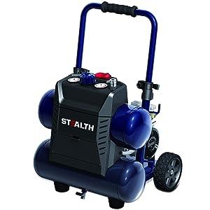 STEALTH Air Compressor, Ultra Quiet & Oil-Free 1.3 Hp 4.5 gallon Hot Dog Compressor, Blue- SAQ-1413